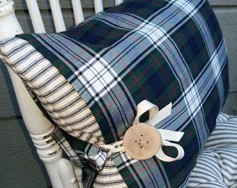 Tartan Pillow, Plaid Pillow, Ticking Pillow, Farmhouse Pillow