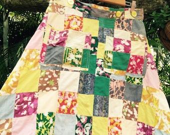 Vintage 70's gauze patchwork indian skirt