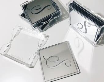 Personalized Laser Cut Etched Acrylic Coasters,Wedding Decor,Monogram,Gift Ideas,Hostess Gift,Bar Cart,Gold Wedding Decor,Initials,4Pack