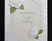 Handmade Elegant Wedding Card with 3D White Roses-Congratulations On You Special Day Wedding Card
