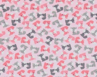little foxes on pink background, stretch fabric for girl, jersey knit, pink Fox