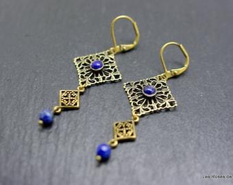Bronze art deco pearl earrings
