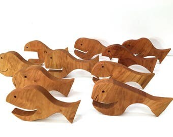 Happy Wood Fish Set of 5 - School of 5 Happy Wooden Fish - Free Standing or Wall Hanging Smiling Fish made from Cherry Wood