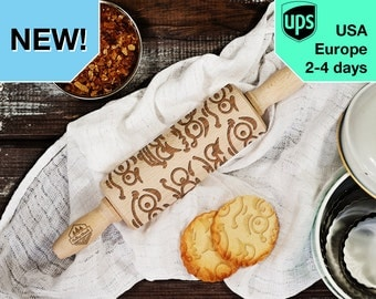 Emoticon - MINI laser engraved rolling pin