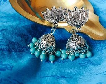 Beaded Jhumkas, Ethnic Wear Jewelry, Oxidized Silver Jewelry