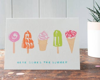 Ice cream birthday card, lollies, a personalised birthday card for woman or girl with your words on the front by Moobaacluck