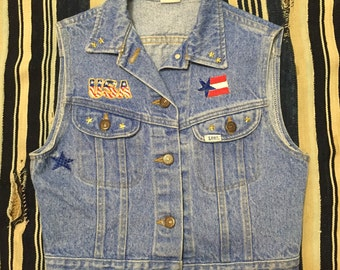 Vintage 80s-90s Lee Denim Vest with Patches Womens Size XS