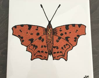 Ceramic Tile Painting, Original. Comma butterfly bug creepie crawley insect plaque