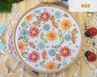 embroidery pattern - Joyful flowers - spring pdf pattern - embroidery kit - embroidery hoop art  - Embroidery design -
