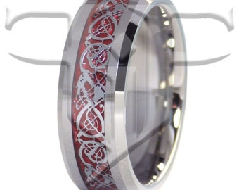 Dragon Ring | Tungsten Fire Red Celtic Dragon Ring | Tungsten Ring Sizes 6-17 | Celtic Ring