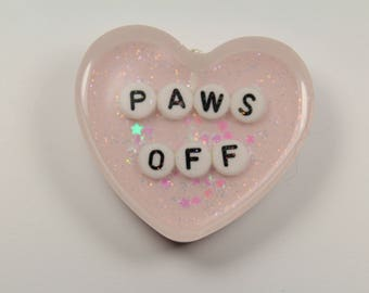 PAWS OFF Heart Keychain