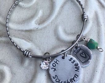 Southern Inspired Hot Southern Mess Hand Stamped  Stainless Steel Pewter Expandable Bangle Bracelet