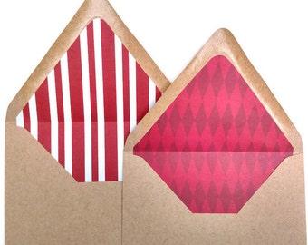 Set of 6 lined kraft envelopes, A7 kraft envelope set, Christmas envelopes, holiday lined envelopes, set of 6 Christmas themed liners