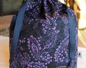Tall Large Knitting/Crochet Project Drawstring Bag - Purple and Navy Paisley Batik