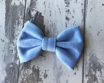 Powder Blue cotton bow, hair bow, bow, hair accessory, Gingham, bows, headbands, baby headbands,