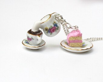tea party necklace Alice in Wonderland necklace teapot charms cake necklace eat me drink me charms coffee necklace afternoon tea necklace
