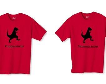 Poppysaurus and Mommasaurus T-Shirts Set Dinosaur Poppy Momma T-Shirt Christmas Gift Set