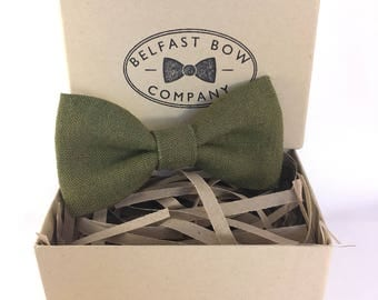Irish Linen Bow Tie in Moss Green - Adult & Junior sizes available