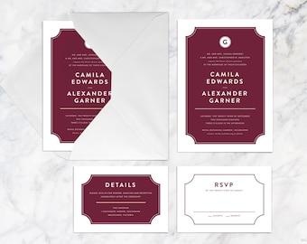 Wedding Invitation Set Printable, Maroon Wine Burgundy Wedding Invitation Set, Modern Minimalist Formal Wedding Invitation Set