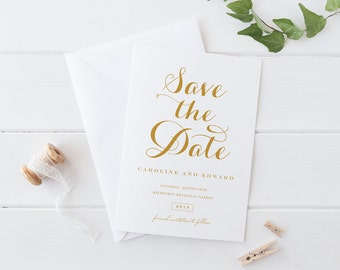 Printable Save The Date Wedding Card, Simple Gold White Calligraphy Save The Date Card