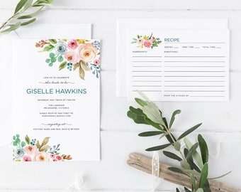 Printable Bridal Shower Invitation Set, Vintage Rustic Pastel Bohemian Flower Bouquet Bridal Shower Invitation