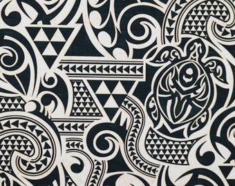 983a616ac Tribal Fabric Polynesian Petroglyph Turtle Tattoo Tapa Geometric, Off White  Black, Cotton Hawaii HCN10069 Ask for bulk