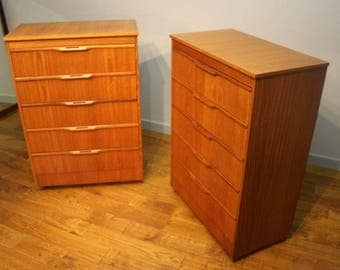 A Pair of Vintage Teak Chest of Drawers