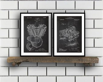 Harley Davidson Patent Posters Group of 2, Harley Davidson Prints, Vintage Motorcycle, Motorcycle Parts, Motorcycle Harley Patent, SP286