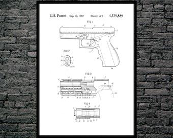 Glock Gun Poster, Glock Gun Pistol Patent, Glock Gun  Print, Glock Pistol Art, Glock Pistol Decor, Glock Pistol Blueprint, Revolver