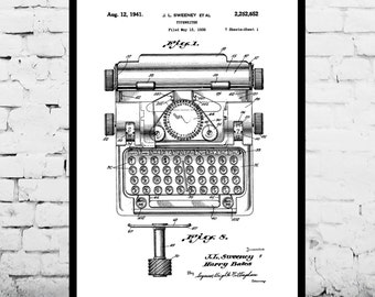 Typewriter Print, Typewriter Poster, Typewriter Patent, Typewriter Decor, Typewriter Art, Typewriter Wall Art, Typewriter Blueprint