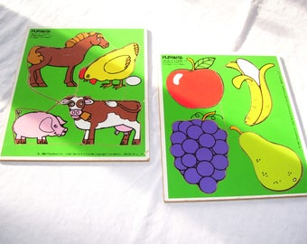 Playskool Puzzle Pair Favorite Fruits and Farm Animals Set of 2 Wood 4 Piece 1980s CLEAN Vintage