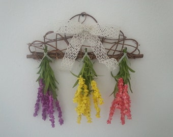 SALE !!  Spring Flower Trio Wall Hanging
