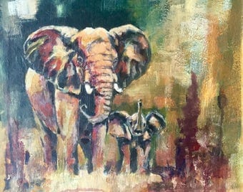 A Contemporary African Wildlife painting of an Elephant and Calf by Barry Baxter