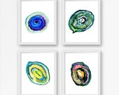 geode watercolor painting print agate decor geode poster stone decoration print decor crystal abstract wall art Set of four 4 illustration