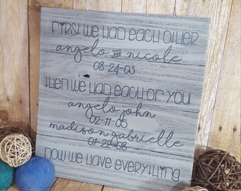 Family sign, First we had each other sign, wood family sign, anniversary sign, birthdate sign, now we have everything sign,