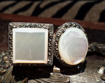 Sterling silver large mother of pearl ring signed