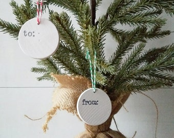 Wooden Christmas Gift Tags, Holiday Packaging, Handstamped Wood Discs, Rustic Gift Wrapping, Double Sided Holiday Tags, Set of 3