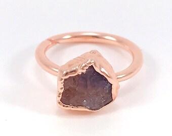 Raw Stone Ring, Amethyst Ring, Raw Crystal, Electroformed Ring, Copper Ring, Purple Gemstone, February Birthstone, Rough, Nugget, Healing