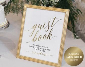 Guest Book Sign, Guest Book Alternative, Guest Book Printable, Wedding Sign, Gold Wedding, Guest Book Idea, PDF Instant Download #BPB324_45C