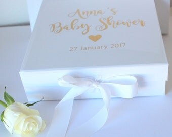 Baby Shower Personalised Keepsake Gift Box to fill with your own gifts.  Available in Gold, Silver or Copper Text
