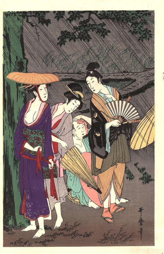 """Japanese Ukiyoe, Woodblock print, antique, Utamaro,  """"Rain Shower"""""""