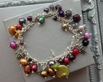 Silver Charm Bracelet, Silver Multi Charm Bracelet, Silver Pearl Bracelet, Statement Bracelet