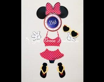 Bikini Minnie Mouse Magnet for Disney Cruise Door
