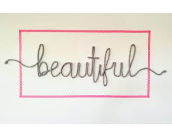 Large Statement Piece, Headboard Art, Wire Word Art, Bedroom Wall Art, Unique Bedroom Decor, Beautiful Wall Sign, Hello Beautiful Sign