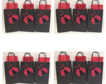 12PK Ladybug Party Favor Bags with Tissue