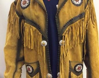 70s Suede Leather Fringe Western Native American Jacket
