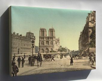 Canvas 24x36; Notre Dame, And St. Michael Bridge, Paris, France 1890