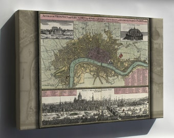 Canvas 24x36; Map Of London In German 1740