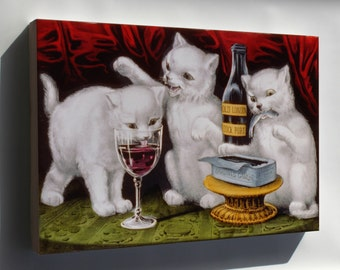 Canvas 24x36; Three Jolly Kittens, 1871 Currier And Ives
