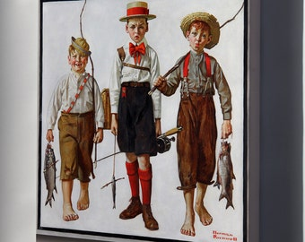 Canvas 16x24; The Catch By Norman Rockwell 1919